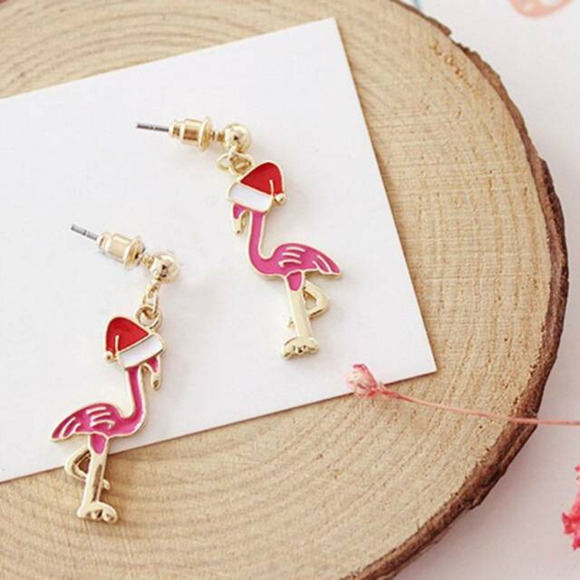 1pair Acrylic Seabird Flamingo with Cap Earrings Christmas Earrings ~