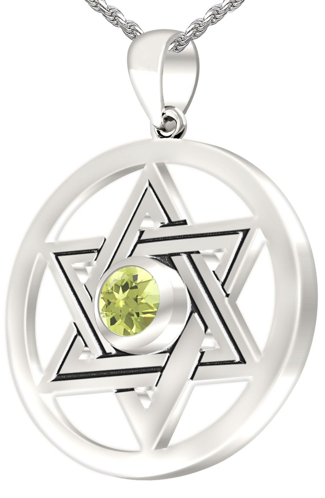 Women Sterling Silver Jewish Star of David August Birthstone Pendant Necklace