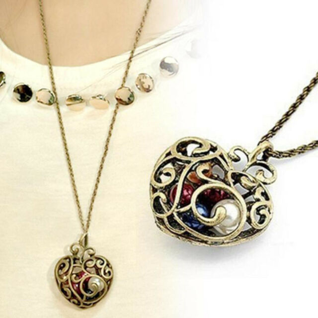 Women Lady Bead Gift Long Jewelry Pendant Necklace Sweater Chain Hollow Heart