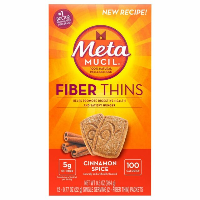 Metamucil Fiber Thins Cinnamon Spice,  9.3 oz Box, 12ct Wafers Ea (Pack of 6)