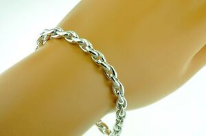 Details About 18k Solid White Gold Mens Bracelet 8 Inches 27 10 Grams Fireball Swirl Link
