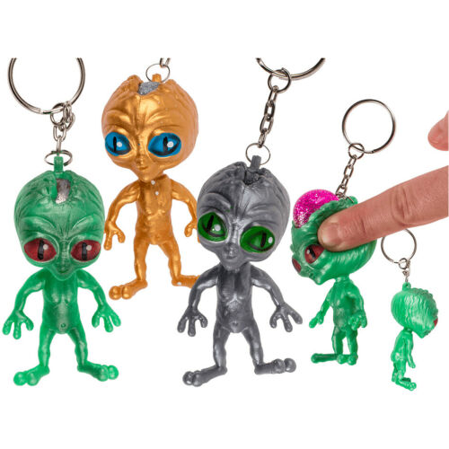 SQUEEZE ALIEN KEYRING KEY CHAIN STRESS GIFT TOY RELIEF NOVELTY ANXIETY AUTISM