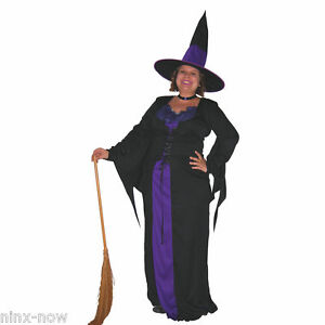 Ladies Long Black Wicked Witch Costume Halloween Fancy Dress Costume Womens