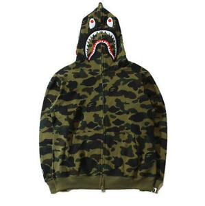 96c97306bfed Bathing Ape BAPE Men s Shark Jaw Camo Full Zipper Hoodie Sweats Coat ...