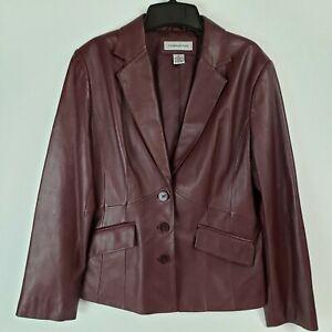 Preston-amp-York-Burgundy-Lambskin-Women-039-s-Jacket-Size-M