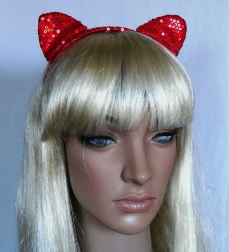 HEADBAND RED SEQUIN CATS EARS WOMEN/'S HAIR ACCESSORY CHRISTMAS HEN PARTY