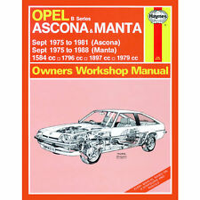 Opel Ascona Manta B Series 1.6 1.8 1.9 2.0 75-88 (up to F Reg) Haynes Manual