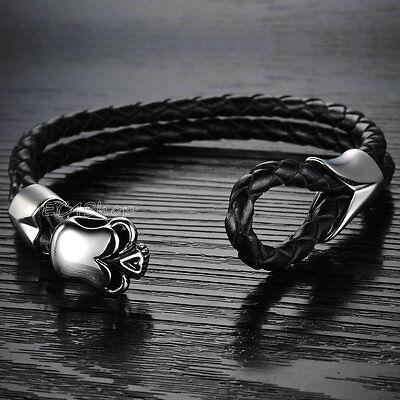 Mens Gothic Punk Biker 316L Stainless Steel Skull Black Genuine Leather Bracelet