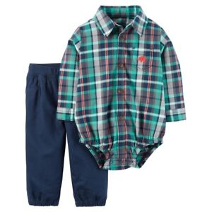 e5ec86c2c Carter s Baby Boys  2 Piece Long-Sleeve Navy Plaid Pant Set