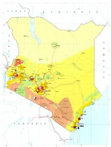 Details about KENYA  Economy industry trade farming agriculture resources  1973 old map