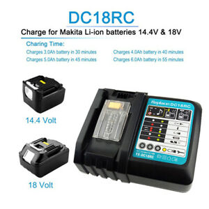 Akku-Schnellladegeraet-14-4V-und-18V-Batterie-fuer-Makita-BL1830-BL1860-DC18RC-DE