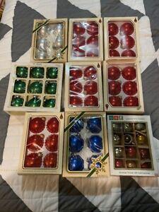 LOT-OF-9-VINTAGE-BOXS-MERCURY-GLASS-CHRISTMAS-ORNAMENTS-PYRAMID-NOELLE