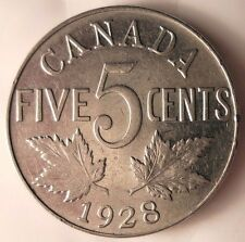 Canada 1928 5 Cent Coin.