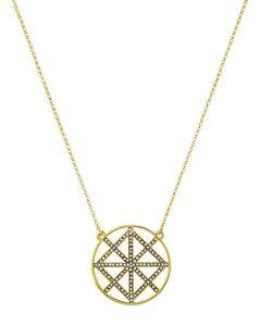 NWT Authentic Juicy Couture Gold-Tone Pave Lattice Round Pendant Necklace