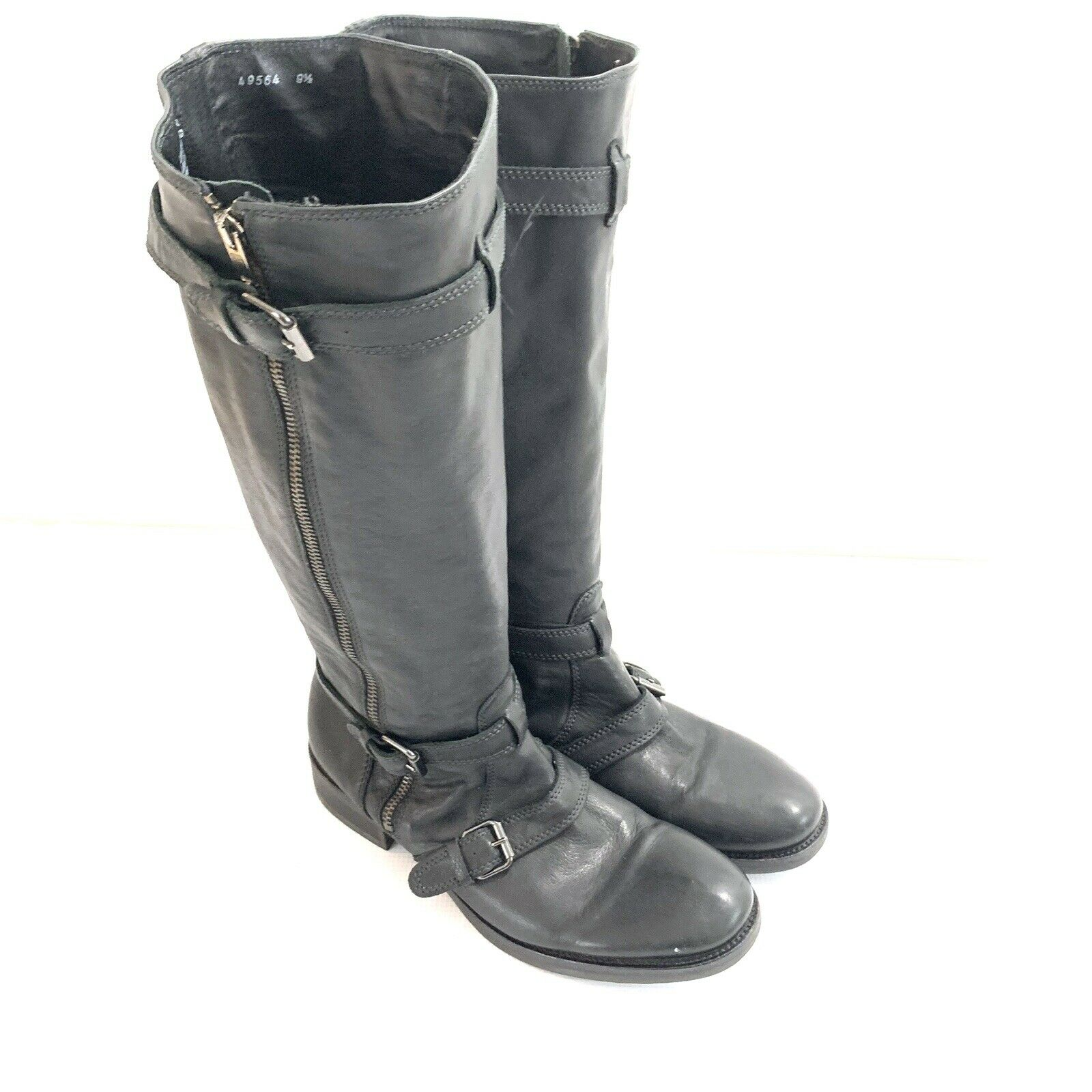 J. Crew Miller Motorcycle Boots with extended Calf Black Women Sz 9.5