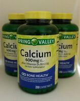 3x Spring Valley Natural Calcium 600mg W/800 Iu Vitamin D Bone Health 250 Tabs