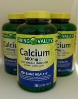 3x Spring Valley Natural Calcium 600mg W/800 Iu Vitamin D Bone Health 250 Tabs