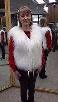 White Tibetan Lamb Fur Vest - Size S Clearance