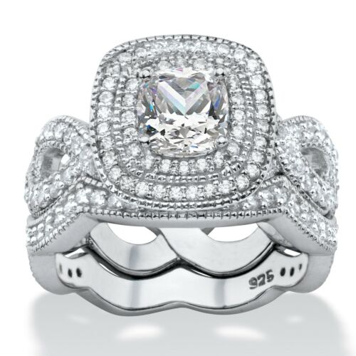 PalmBeach Jewelry 1.92 TCW CZ Platinum over Silver 2-Piece Bridal Ring Set