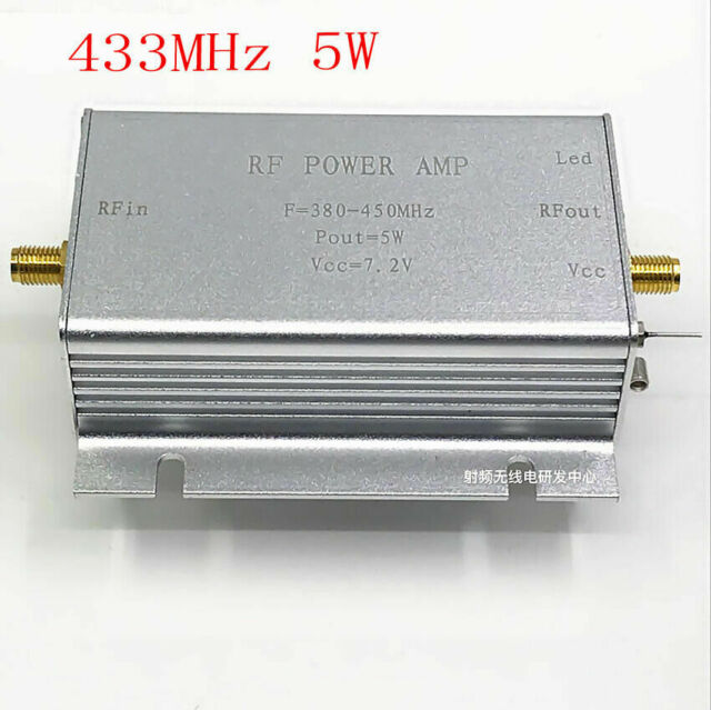 433MHz RF Power Amplifier 5W SMA Connector for 380-450MHz Remote Transmitter
