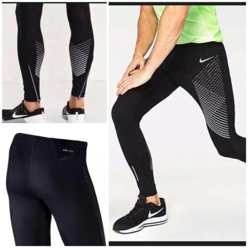 Nike Men/'s /'/'Power Run Tight GX/'/' Running Tights Black Medium