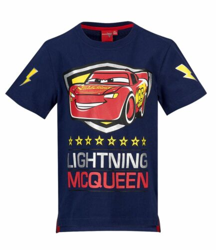 Boys Kids Disney Cars Short Sleeve Tee Tshirt Top T-shirt Navy Age 2-8 years