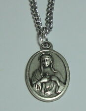 "Immaculate Heart of Mary & Sacred Heart of Jesus Holy Medal on 24"" Steel Chain"