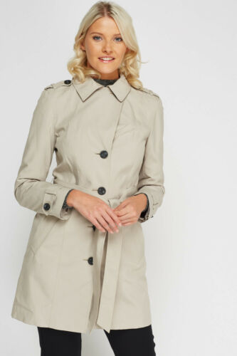 New Belt Trench amp;s Button Coat Womens Jacket Pocket Midi M Single Breasted Mac PBwIFp