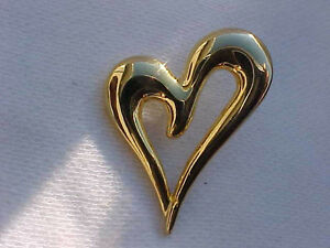 Details about Gold Heart Pin Open Heart Lapel Hat Tack Pin Whispy Heart Pin  1-3/8