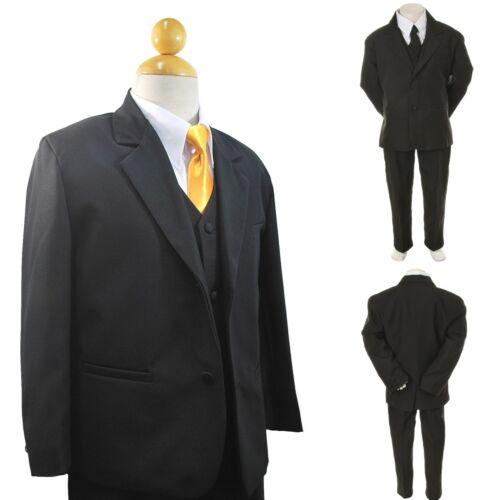 Free Yellow Tie 6PC 2T-4T New Boy Toddler Kid Formal Wedding Tuxedo Suit Vest
