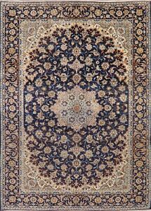 Vintage-Traditional-Floral-Navy-Blue-Najafabad-Area-Rug-Hand-Knotted-Wool-10x13