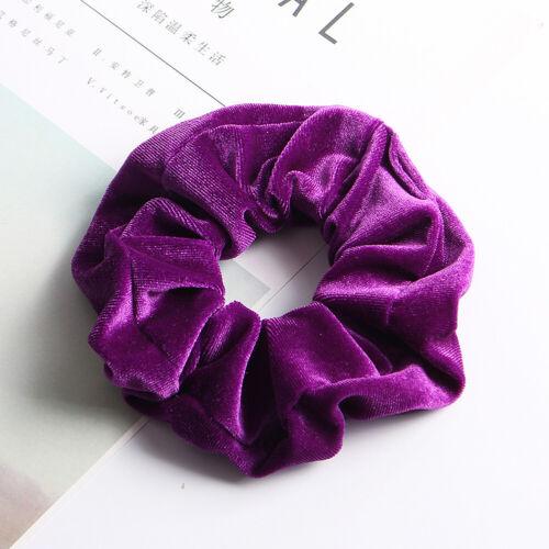 5 Velvet Hair Bands Scrunchie Elastic Scrunchy Ponytail Holder Soft Velveteen