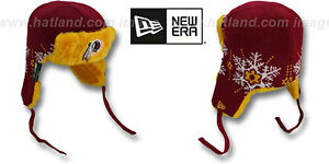 1f1eec2a Details about Redskins 'SNOWFLAKE TRAPPER' Burgundy-Gold Knit Hats by New  Era