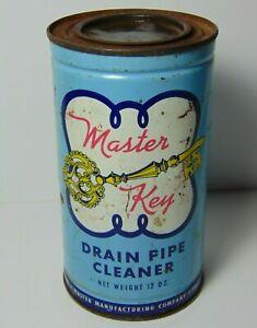 Antique-Vtg-1950s-MASTER-KEY-SKELTON-KEY-CLEANER-ADVERTISING-TIN-PEORIA-ILLINOIS