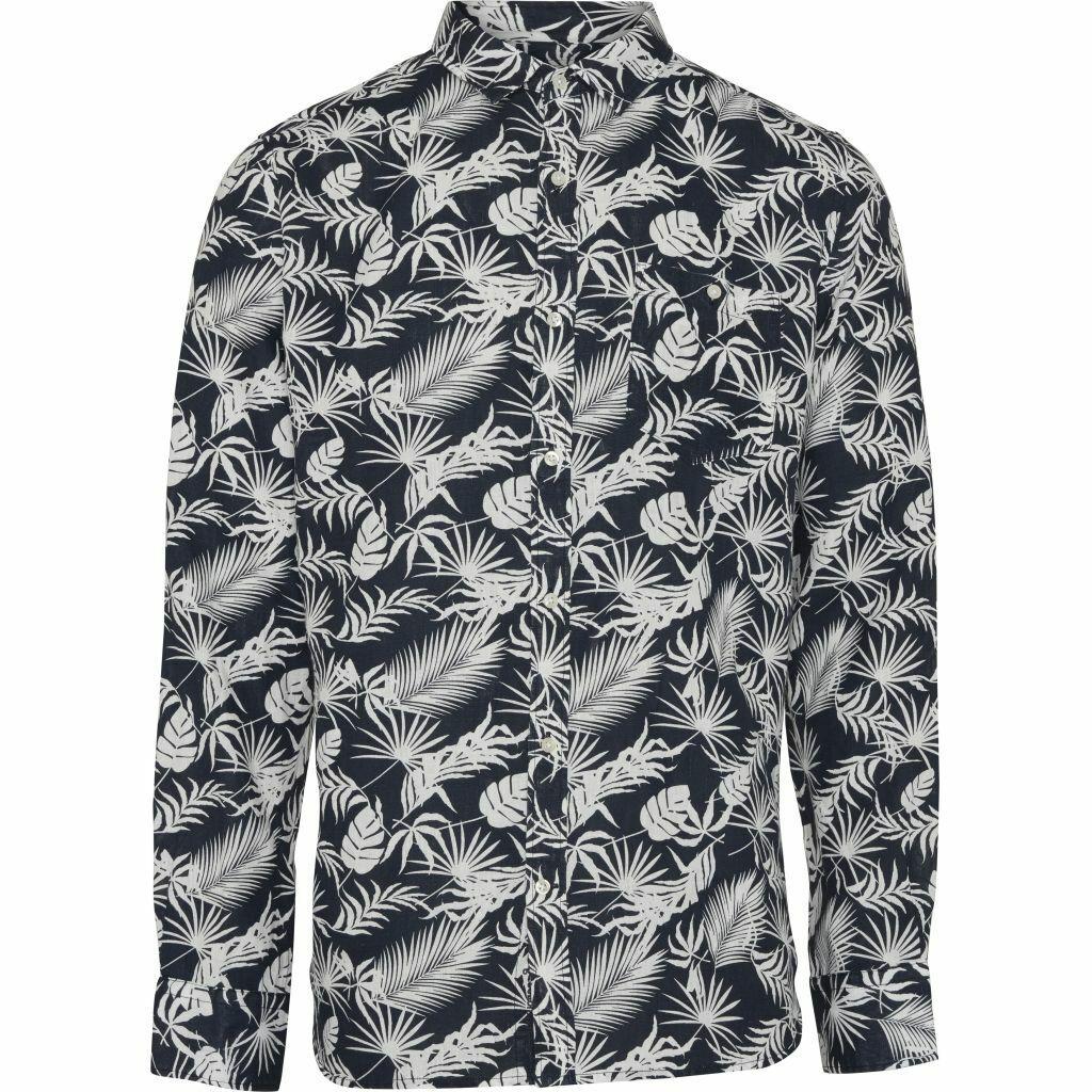Knowledgecotton Apparel camicia lino all over print bio-lino Vegan traspirante