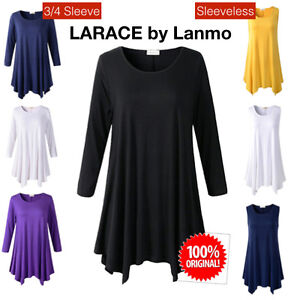 2c11cbf4a56 Details about LARACE Women Plus Size 3 4 Sleeve Tunic Tops Loose Basic Shirt