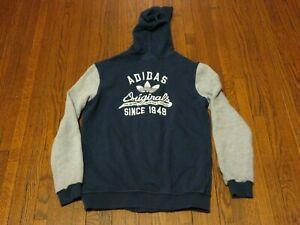 Armario caos flexible  Women's Adidas Originals Since 1949 logo Navy Grey Hoodie G84668 sz L | eBay
