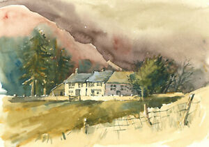 Clifford H. Thompson (1926-2017) - 1993 Watercolour, Cottages in a Landscape