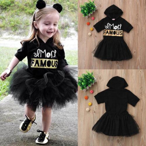 Cute Toddler Kids Baby Girls Letter Print Princess Tutu Dress Outfits Clothes