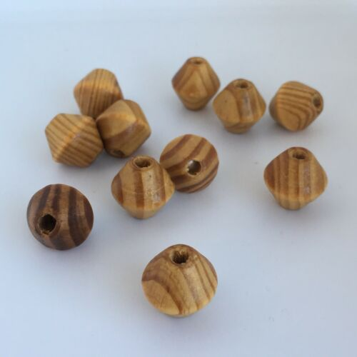 10X Wooden Bead 16mm Natural Varnished Bicone Wood Beads DIY Macrame Craft