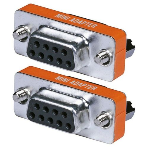 2x RS-232 DB9 DB 9 Female To Female Null Modem Mini Type F//F Adapter Connector
