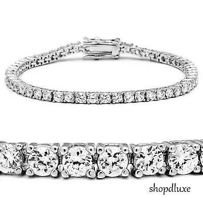 "Stunning Round Brilliant Cut Cubic Zirconia Sterling Silver 7"" Tennis Bracelet"