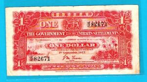 Government-of-Straits-Settlements-P9a-1-Dollar-Sign-L-M-Leau-1-9-1927-VF-EX-RARE