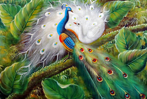 Peacock-Birds-In-Tree-Garden-Landscape-STRETCHED-24X36-Oil-On-Canvas-Painting