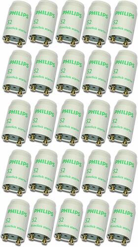 25 Stück Philips Starter S2 EcoclickStarter für Leuchtstoffröhren von 4-22 W
