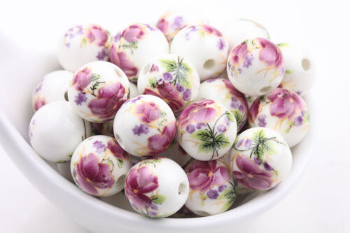 10//20Pcs Round Ceramic Porcelain Loose Spacer Beads Flower Pattern Charms Bead