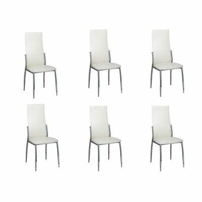 6 Sillas de comedor de cuero blancas cromo Juego de sillas modernas