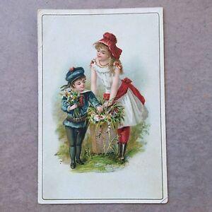 Antique-Trade-Card-Boy-Teen-Girl-Children-Garden-Flower-Bouquet-Basket-Blue-Red