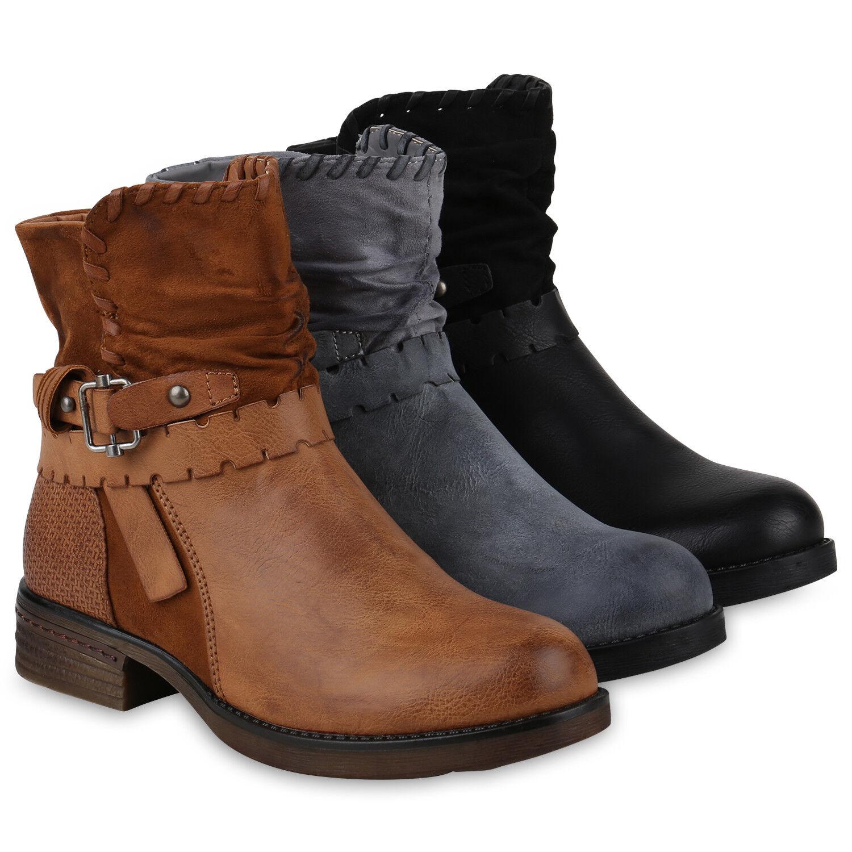 Leicht Gefütterte Biker Boots Damen Stiefeletten Schnallen 818884 Schuhe