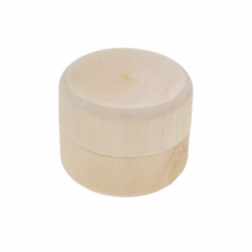 Round Wood Jewelry Box Container Wedding Ring Ear stud Holder Coin Box Storage